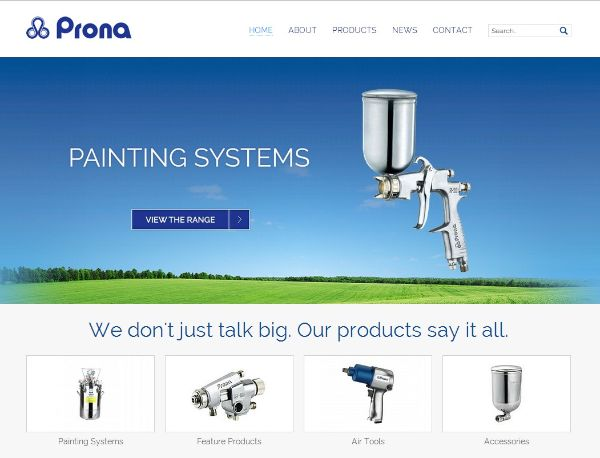 Prona Tools is an example of minimalist website design
