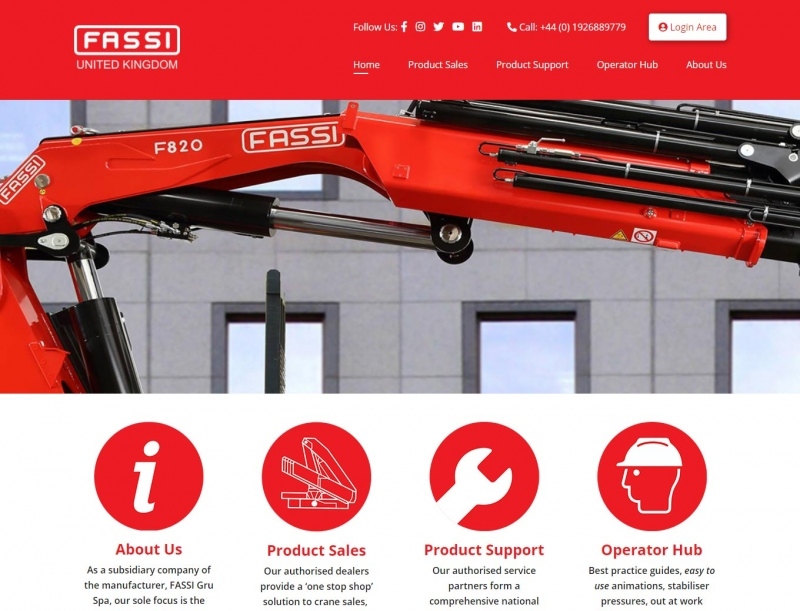 Different banner images showcasing Fassi cranes in surreal situations on landing page.