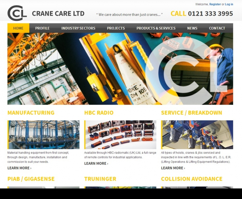 A selection of cranes and lifting equipment on the Crane Care website home page.