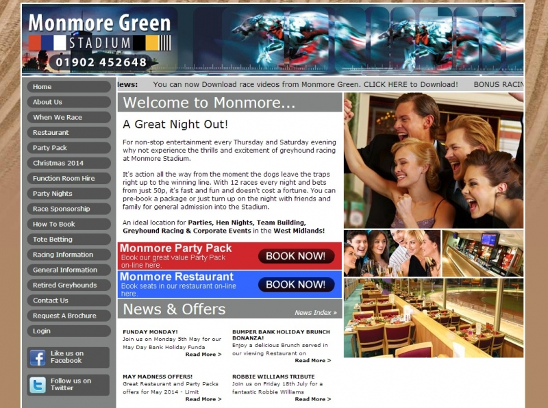 Welcoming and inviting home page of the Monmore Green website design.