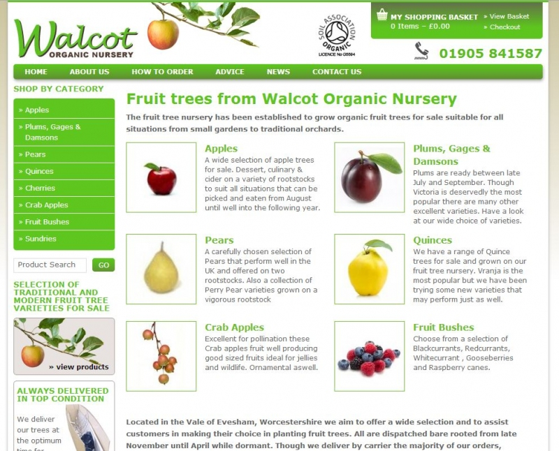 Landing page showcasing a variety of fruit trees available from Walcot Nurseries.
