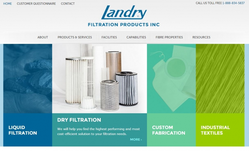 Banner images featuring the different types of filtration products offered by Landry.