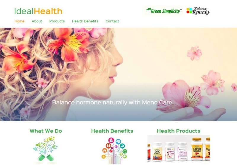 Home page snapshot of Ideal Health website showing lady blowing on a handful of petals.