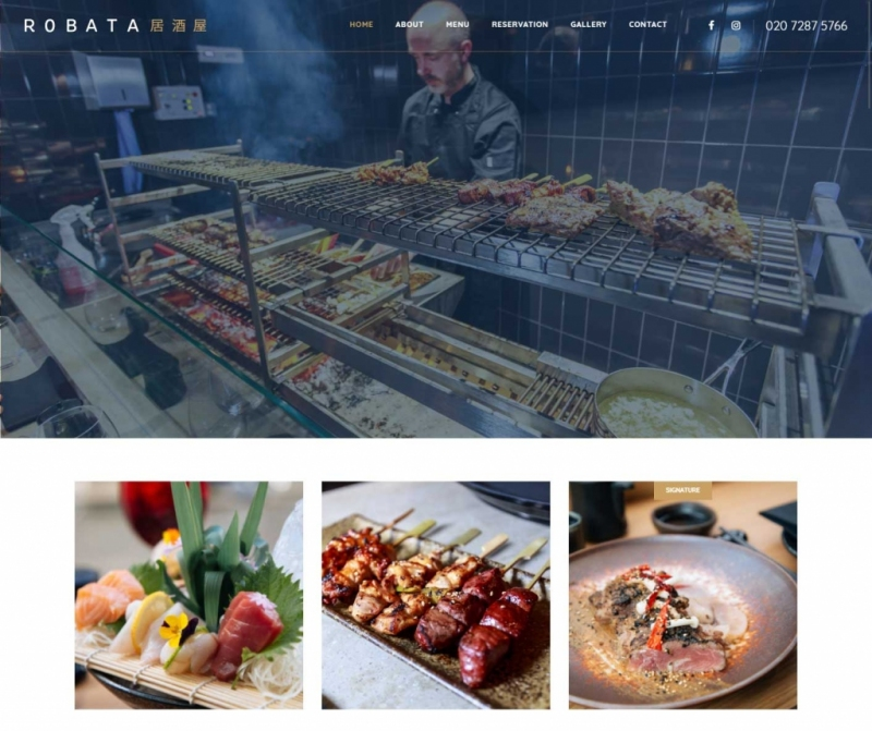 Closeup of the Robata website layout