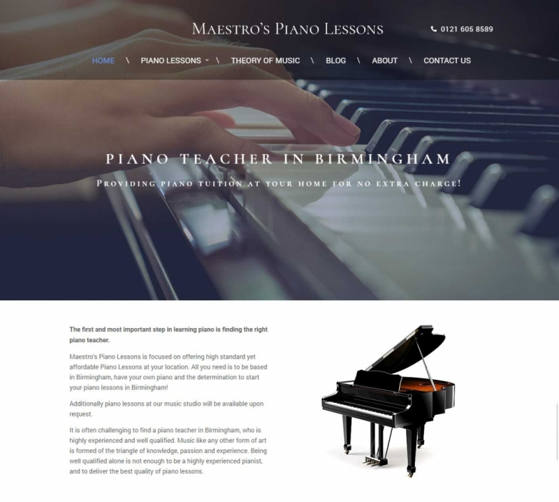 Close up of piano keyboard on landing page