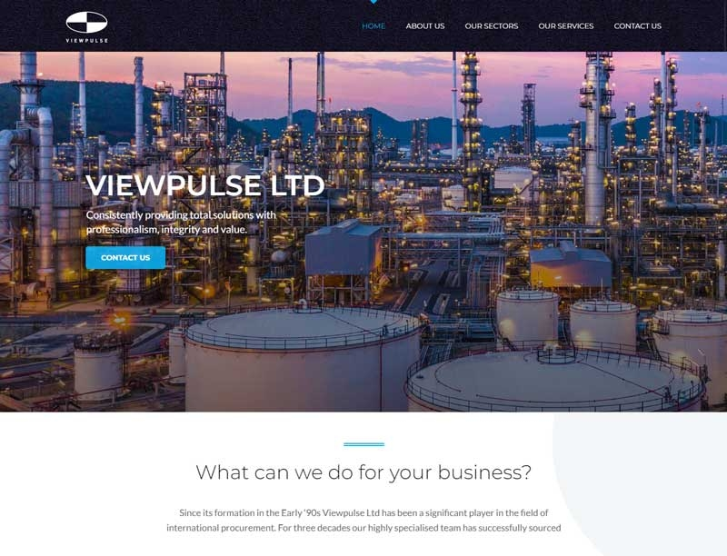 Chemical processing plant in background on website landing page