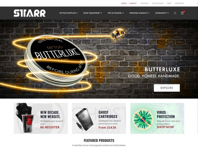 Top selling skin cream for tattoo aftercare shown on website landing page
