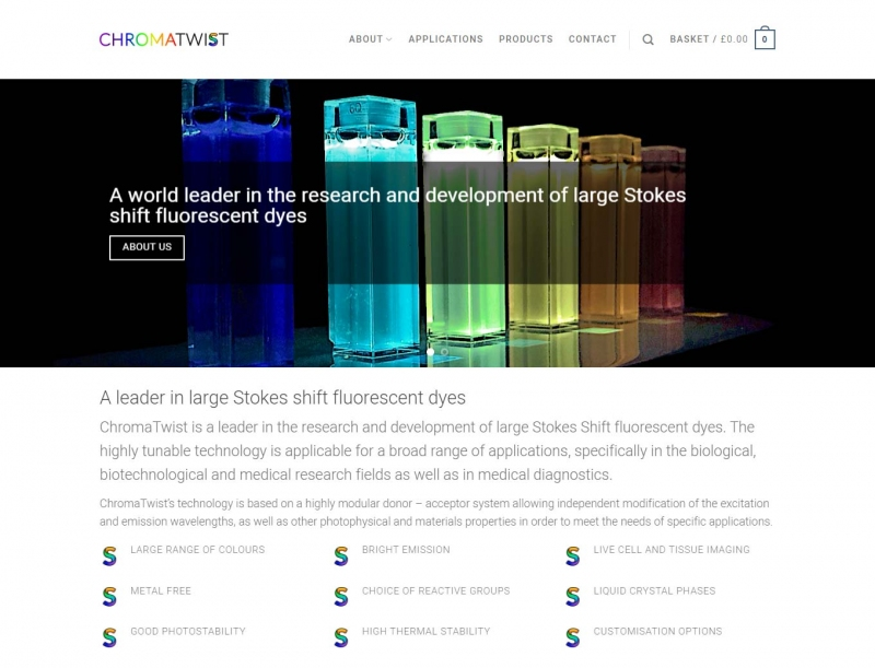 Fluorecent liquids in glass canisters on home page banner