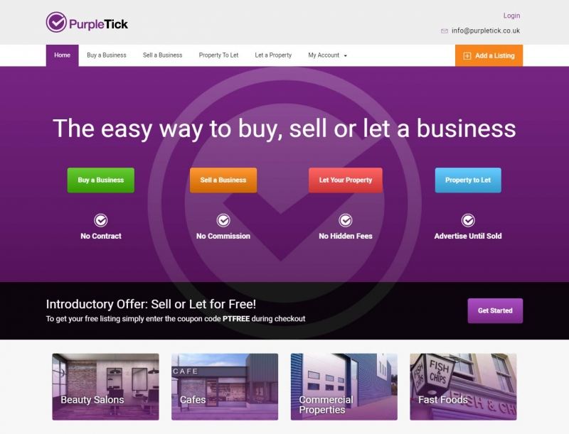 Businesses for sale on the Purple Tick website home page