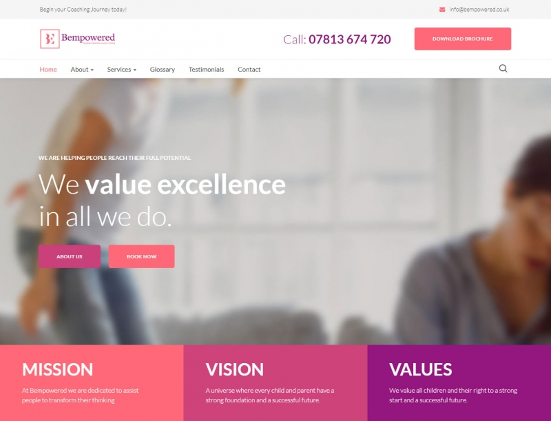A closer look at the Bempowered training company web design
