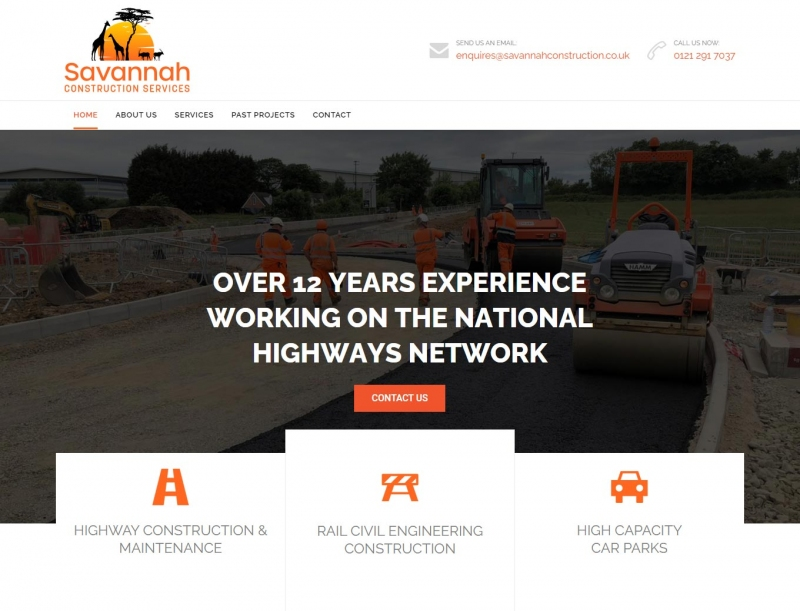 Construction team hard at work in image on website home page.
