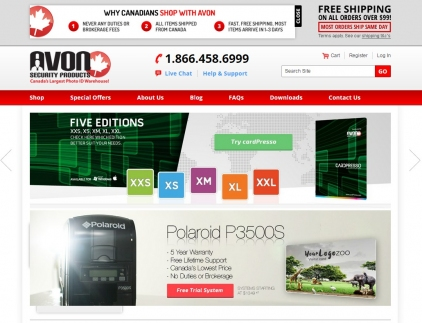 Home page of the Avon Security ecommerce website featuring different security products.