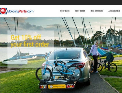 Car bike rack shown on website home page