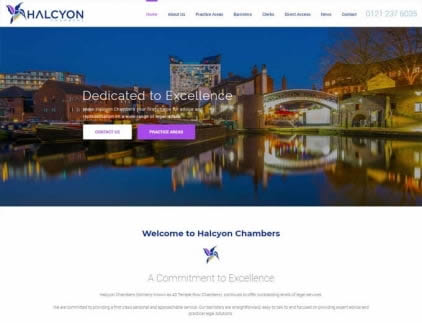 Home page of the Halcyon website design