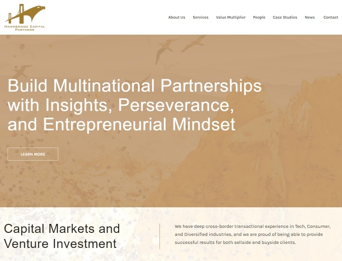 The financial district features on the landing page of this web design.