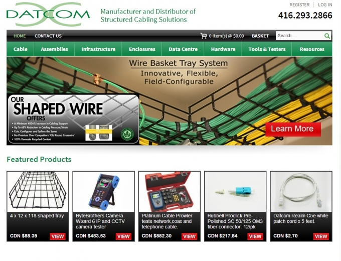 Landing page of the Datcom website showing a range of cabling products and solutions.