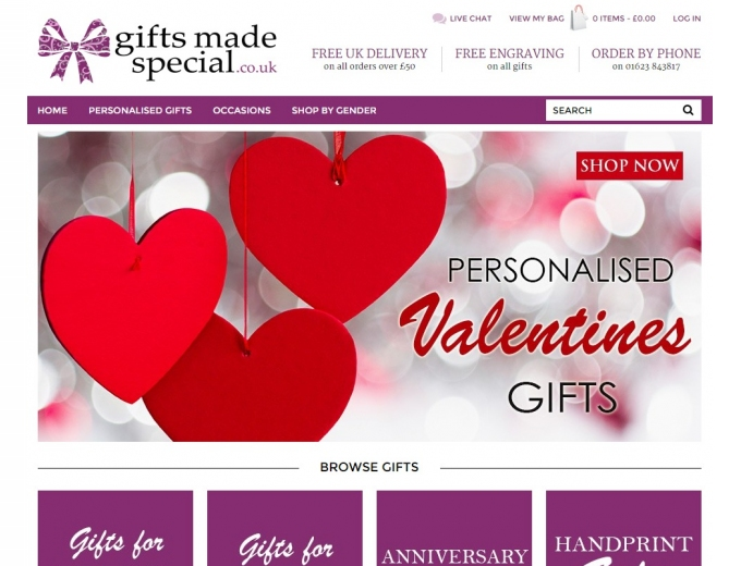 Red and white heart shapes feature on the home page of this ecommerce website.