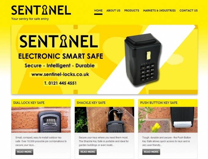 Yellow backdrop on home page featuring some of the safe locks Sentinel offers.