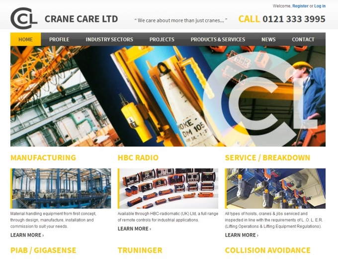Home page snapshot of the Crane Care website showing different cranes.