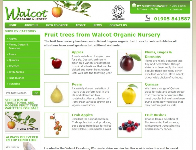 Green and white website home page featuring categories of fruit trees for sale.