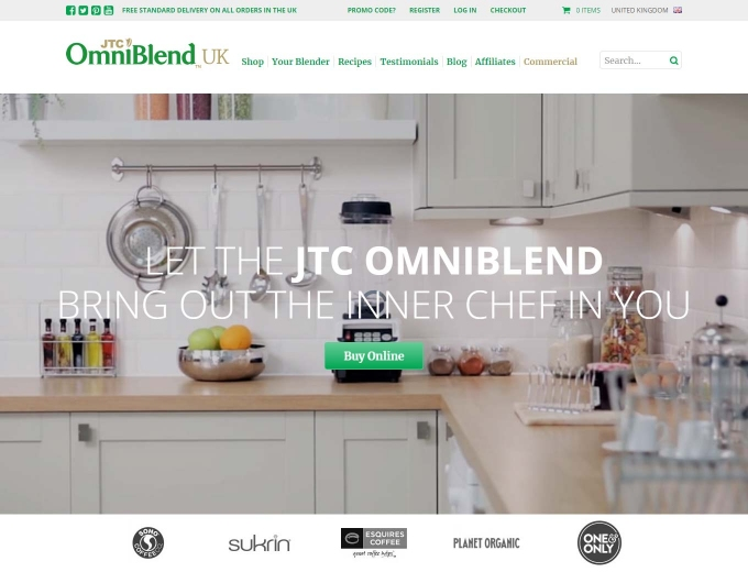 Fresh ingredients tumbling into a blender on website home page.