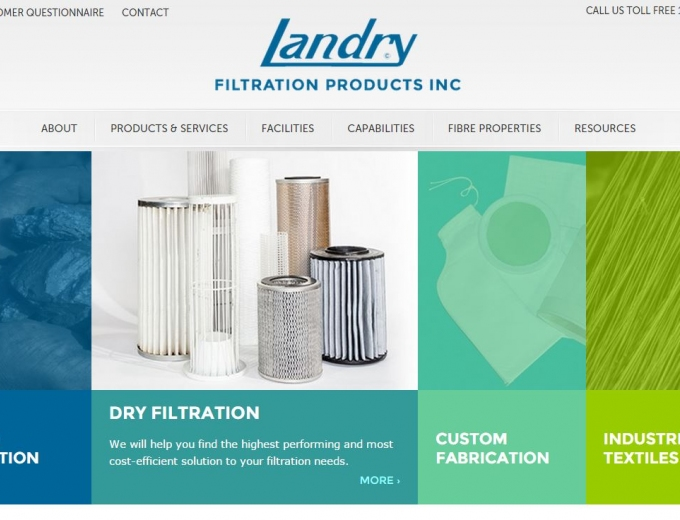 A variety of filtration products displayed on the website home page.