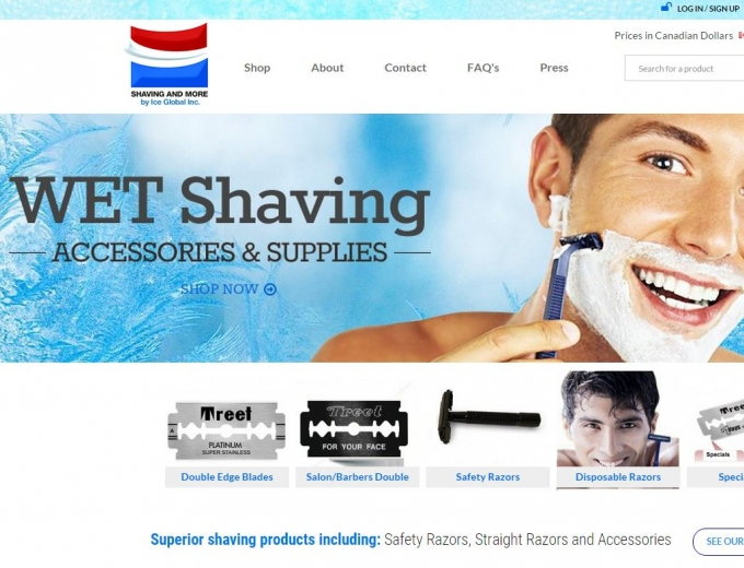 Close up of a good looking guy shaving his face on website home page.