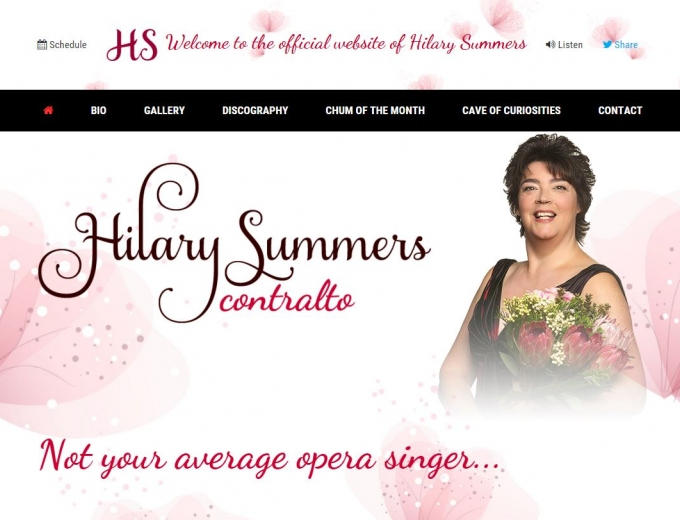Home page screenshot showing Hilary Summers holding a bouquet of exotic flowers.