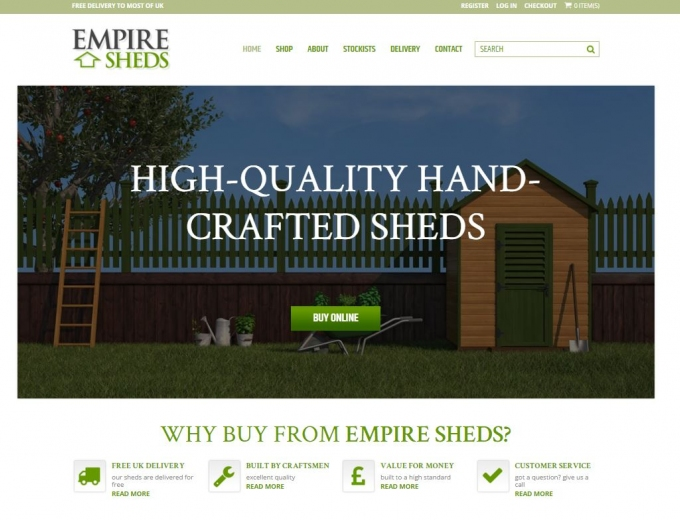 Close up of a wooden garden shed on the home page of this website design.