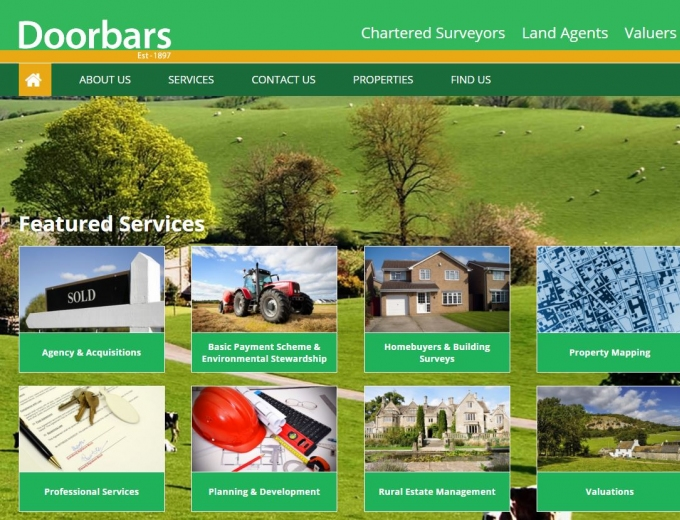 Backdrop of beautiful Worcester farmland on the Doorbars website home page.