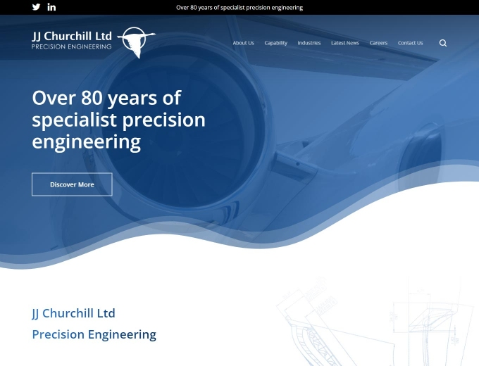 Close up of jet engine on home page of JJ Churchill web design.