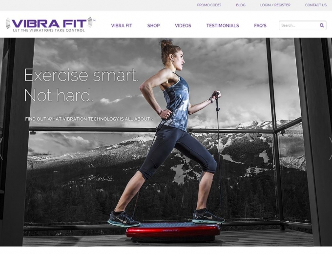 Top Canadian female athlete using Vibra Fit machine on website home page.