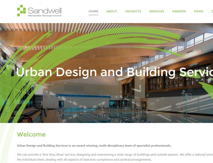 Close up of the Urban Design and Build web design home page.