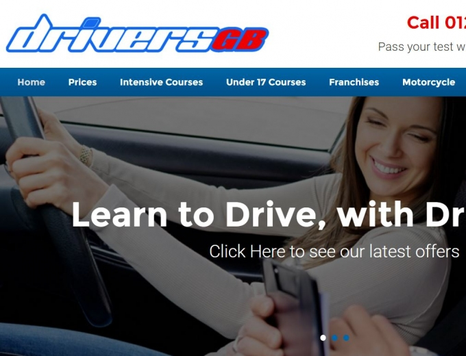 Female driver with driving instructor on web design home page banner.