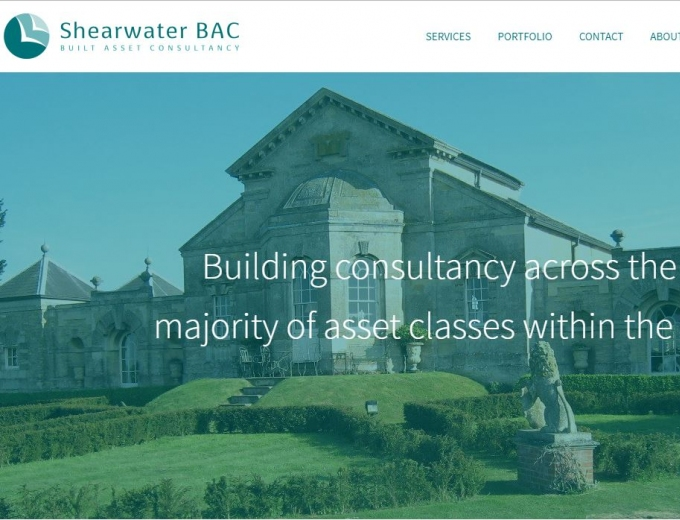 Home page screenshot of Shearwater web design