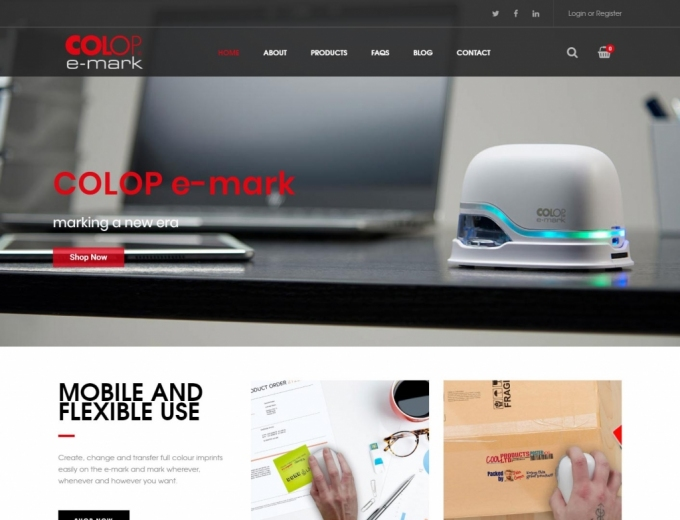 The e-mark up and close on website landing page