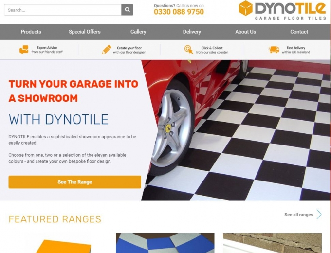 Chequered black and white garage flooring on home page