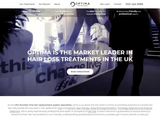 Video footage on the Optima Hair Loss web design
