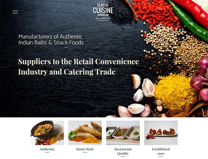 Close up of the Classic Cuisine web design