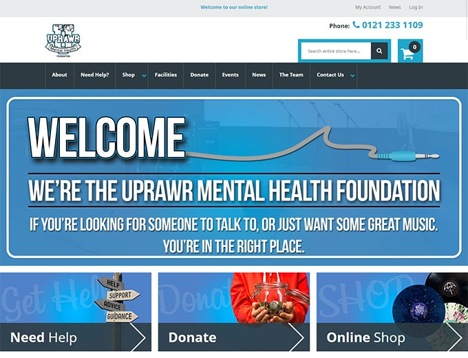 Home page of the Uprawr mental health foundation website