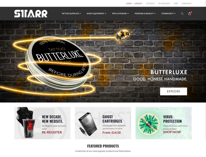 Tattoo products on display on the STARR ecommerce website home page