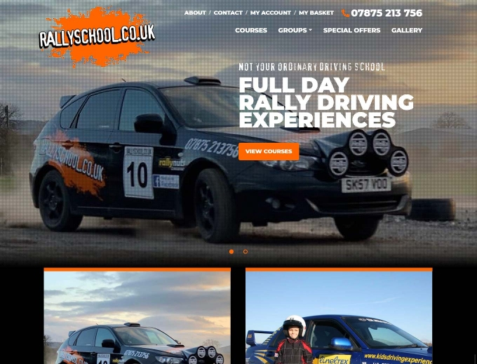 Rally car in full action on the website home page