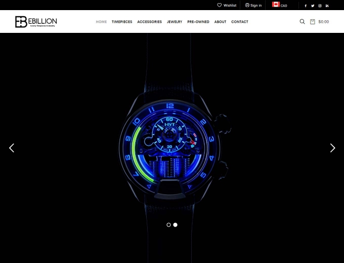 Luxury watch lit up with blue lights against black background