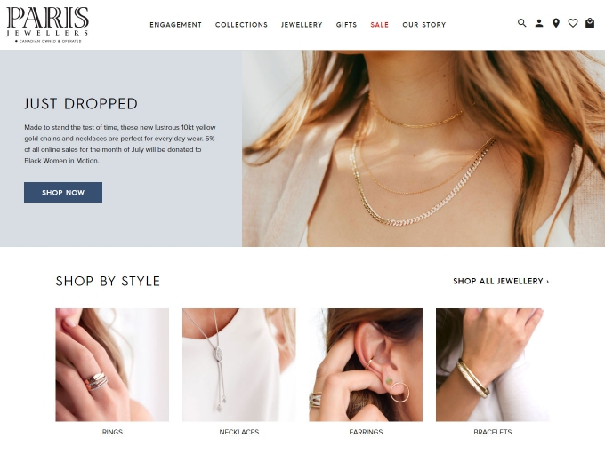 Necklaces and bracelets feature on the Paris Jewellers home page
